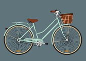 Vintage city bicycle with a basket