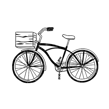 Vintage city bike with front basket. Vector hand drawn bicycle illustration isolated on white background