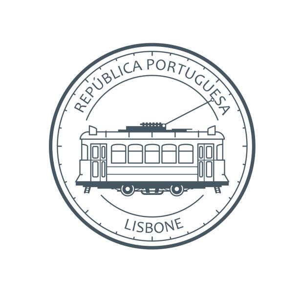 vintage tramwaj miejski - tramwaj w lizbonie, portugalia godło, zarys retro tramcar - lizbona stock illustrations