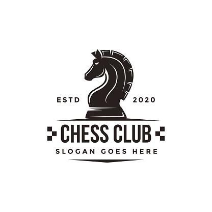Vintage classic badge emblem chess club, chess tournament, horse vector icon on white background