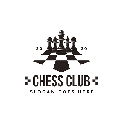 Vintage classic badge emblem chess club, chess tournament vector icon on white background