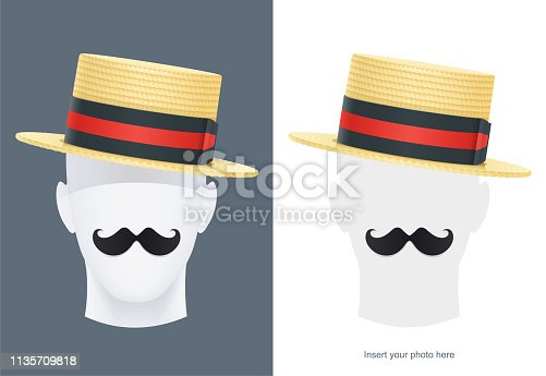 Vintage classic boater straw hat at manikin. Stylish cylinder headgear for gentleman. Retro wear accessory. Male fashion. Man face avatar. Trendy clothes. Isolated white background. Eps10 vector