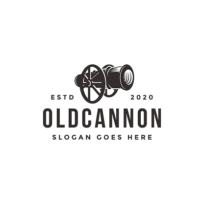 Vintage classic old cannon icon vector template