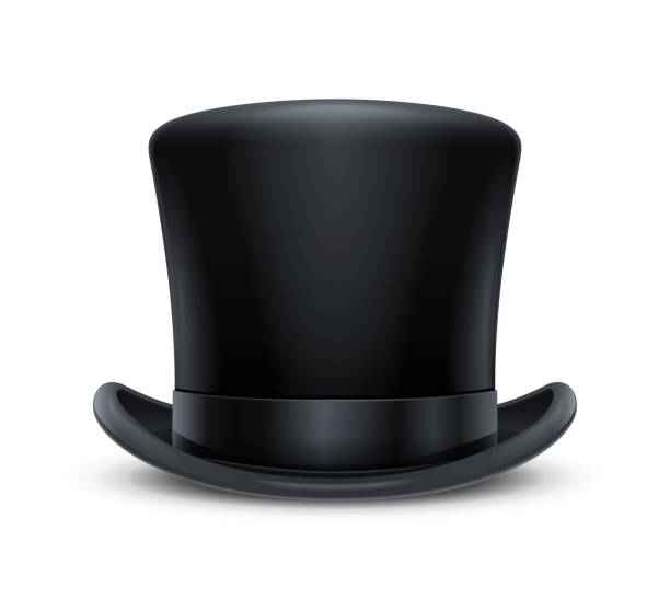 vintage-klassiker top hat. vector illustration. - zylinder stock-grafiken, -clipart, -cartoons und -symbole