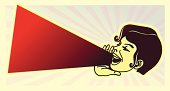 vintage clipart: girl yelling out loud the latest news