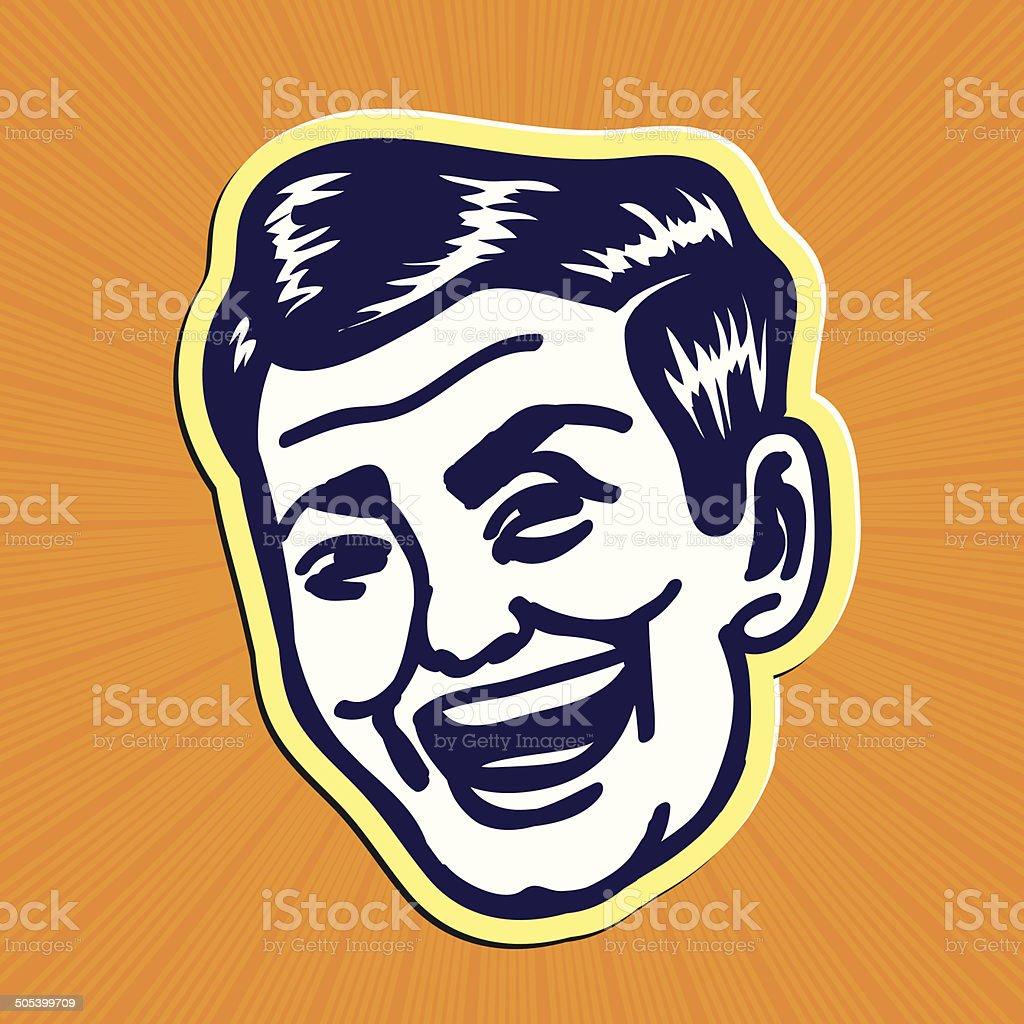 ビンテージクリップアート 笑顔レトロな男性 19401949年のベクター