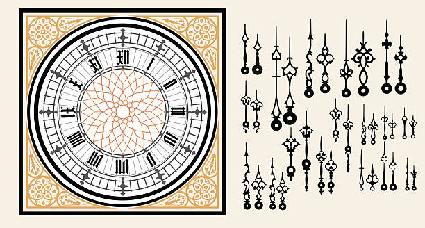 vintage clock dial with set hands in the victorian style - clock face stock illustrations, clip art, cartoons, & icons