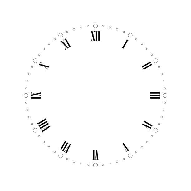 ilustrações, clipart, desenhos animados e ícones de mostrador de relógio vintage com números romanos. pontos marcam horas e minutos. ilustração vetorial plana simples - segundo grau