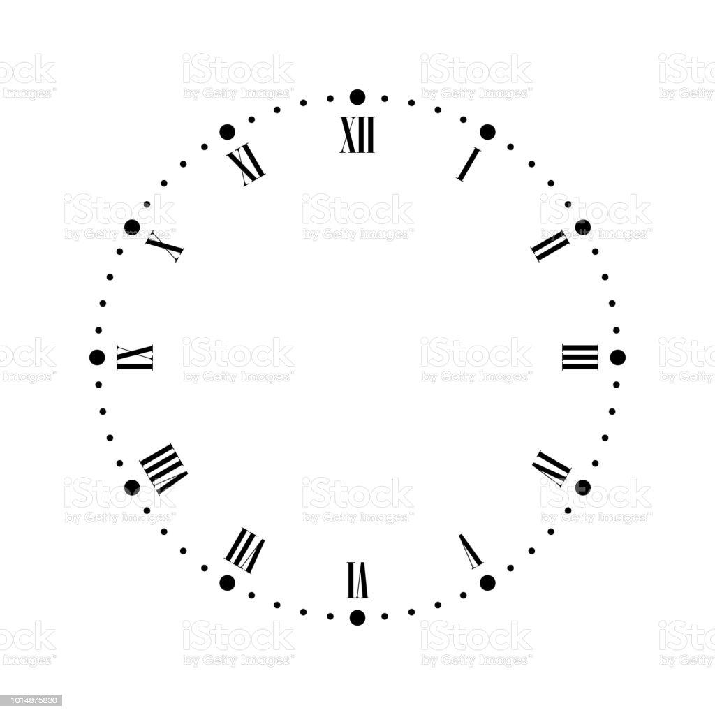 Data Em Numeros Romanos vetores de mostrador de relógio vintage com números romanos