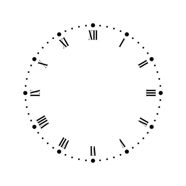 illustrazioni stock, clip art, cartoni animati e icone di tendenza di vintage clock face with roman numbers. dots mark minutes and hours. simple flat vector illustration - quadrante