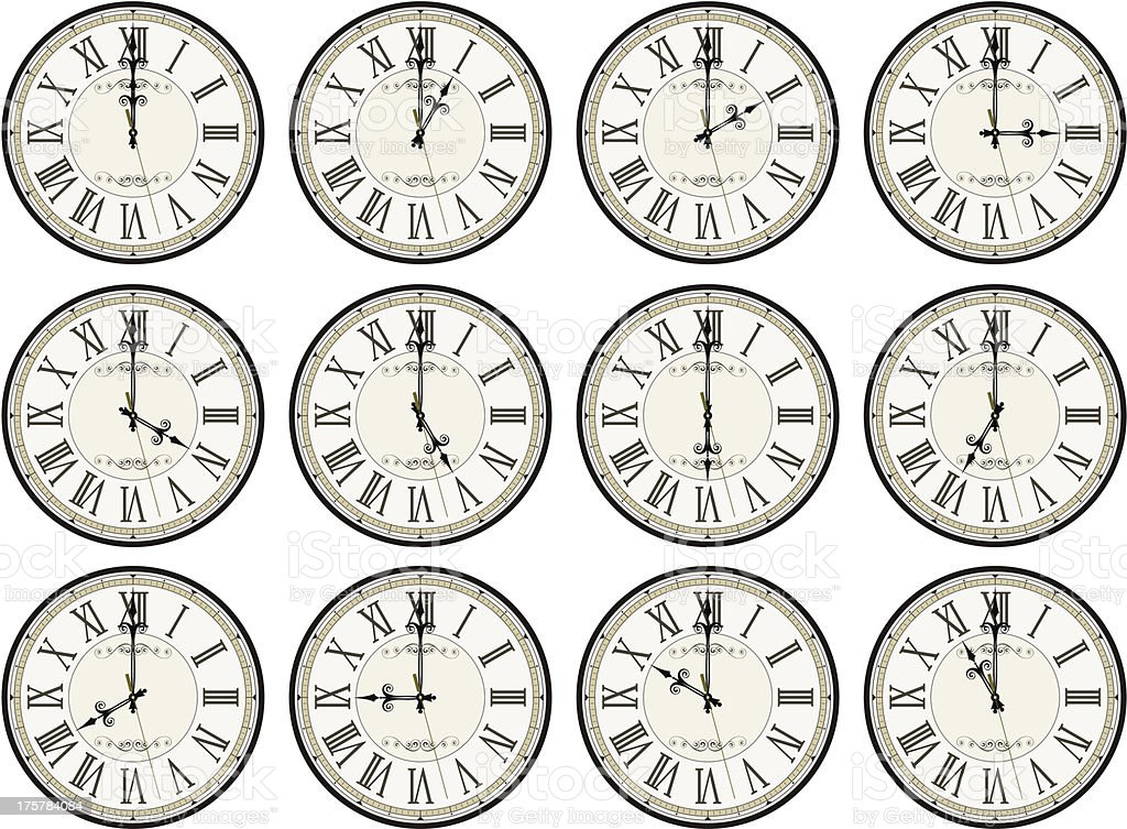 vintage clocks different times royalty-free stock vector art