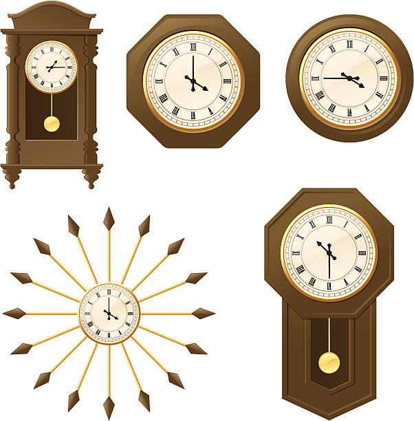 Vintage Clocks - incl. jpeg Individually grouped old-fashioned clocks. Rotate the hands to show the time you want. wall clock stock illustrations