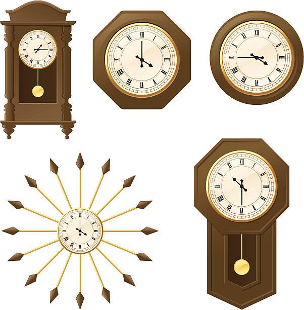 ilustraciones, imágenes clip art, dibujos animados e iconos de stock de incl. vintage relojes-jpeg - wall clock