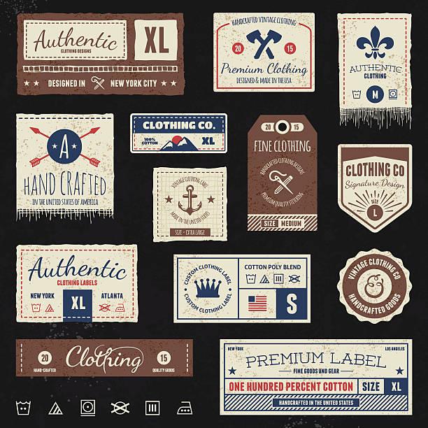 ilustrações, clipart, desenhos animados e ícones de etiquetas vintage roupas - texturas desgastadas