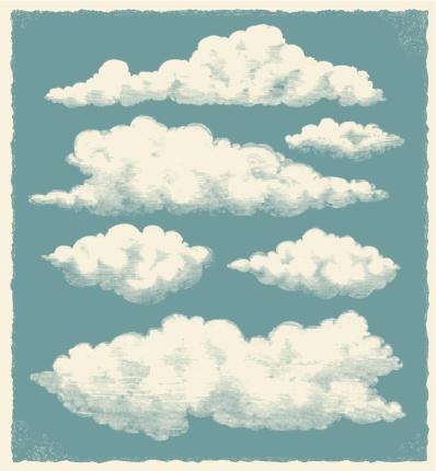 Vintage retro cloud background. Textured vector design. Hand drawn illustration.