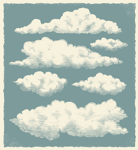vintage chmury w tle - clouds stock illustrations
