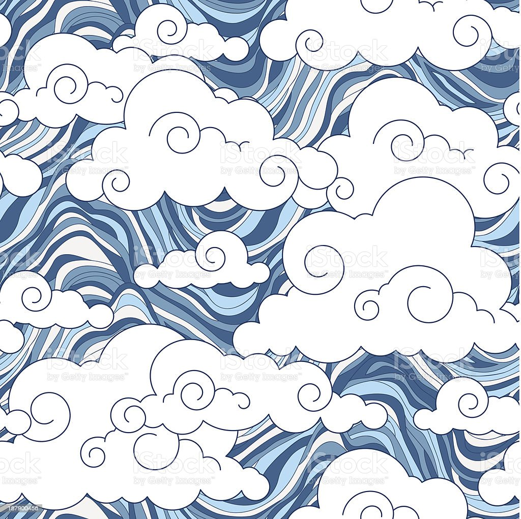 vintage cloud Chinese  seamless pattern royalty-free stock vector art