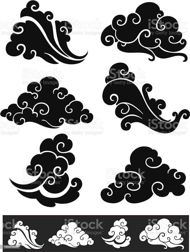 Vintage clouds chinese style stock vector art more for Chinese clouds tattoos