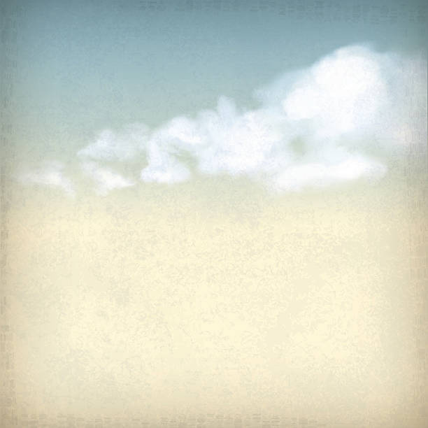 retro wolken illustration auf dezente struktur - pastellgelb stock-grafiken, -clipart, -cartoons und -symbole