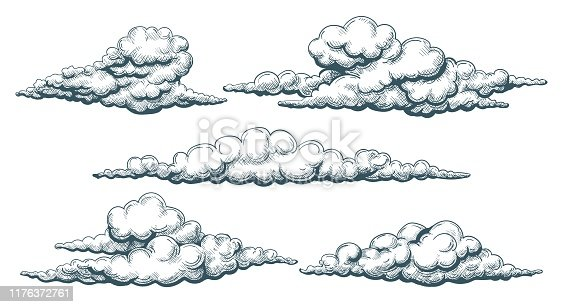 Vintage cloudscape. Clouds sketch illustrated drawing, hand drawn cloud set in sky, decorative retro nature overcast, vector illustration