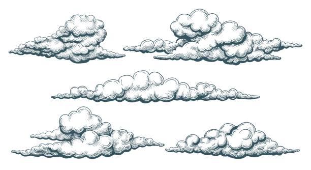 vintage chmury szkic - chmura stock illustrations