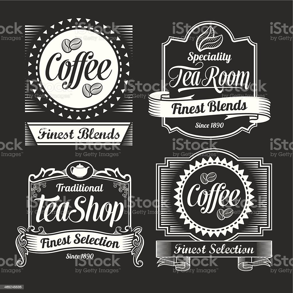Vintage Coffee and Tea Label Designs vector art illustration