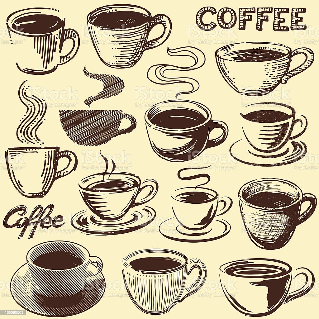 vintage coffee cups stock vector art amp more images of