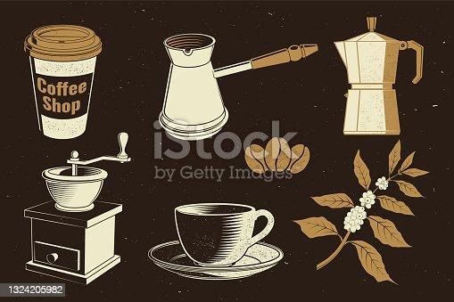 Equipamento de café vintage. vetor. O conjunto inclui copo de café de papel, moedor, feijão, xícara e ramo de silhueta de cafeiculída. Ícone para menu para restaurante, café, bar, embalagem