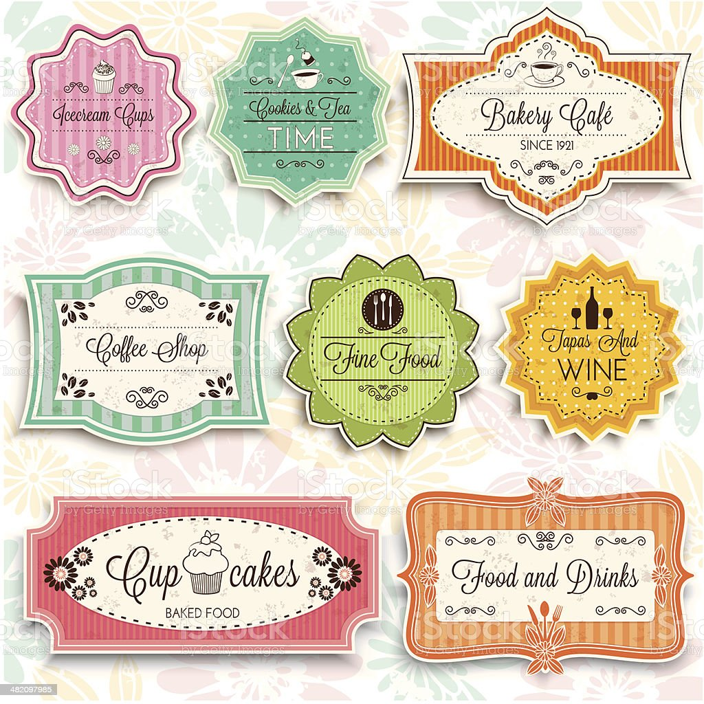 Vintage Coffee Food and drink signs vector art illustration