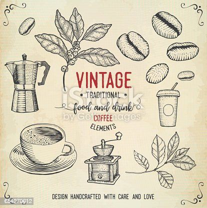 istock Vintage coffee icons 654270612