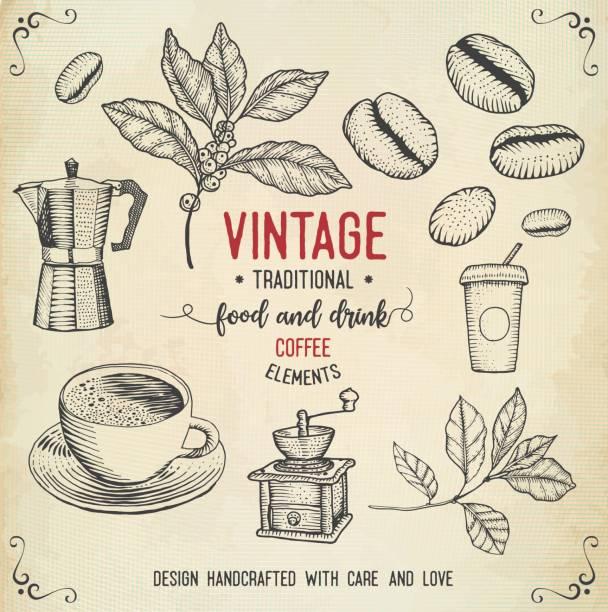 ilustrações, clipart, desenhos animados e ícones de ícones de café vintage - café