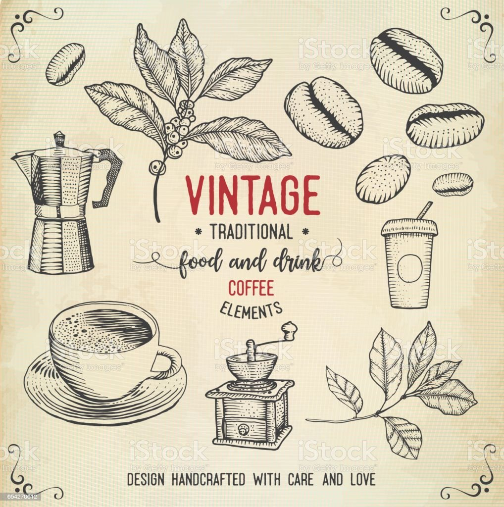 Vintage coffee icons vector art illustration