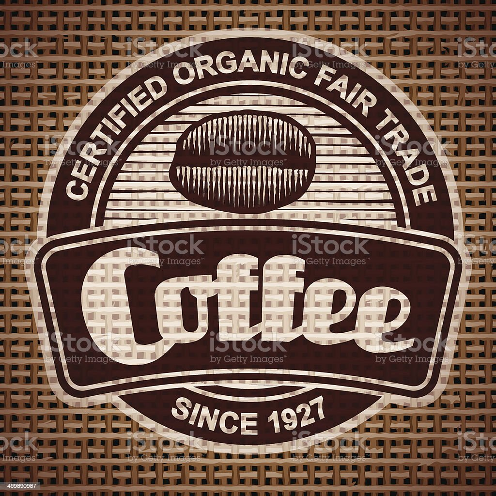 Vintage Coffee Label on Burlap