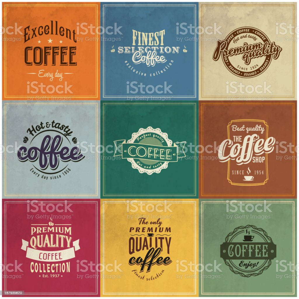 Vintage coffee labels collections royalty-free stock vector art