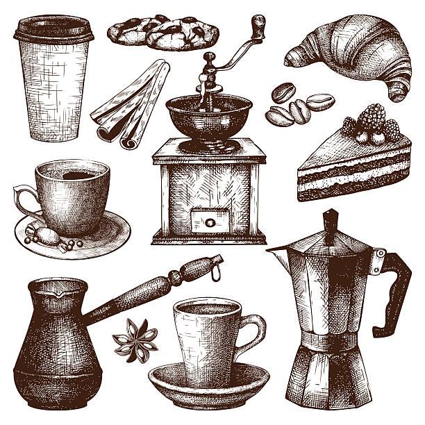 vintage-kaffee, gebäck und gewürz-illustration - tassenkuchen stock-grafiken, -clipart, -cartoons und -symbole
