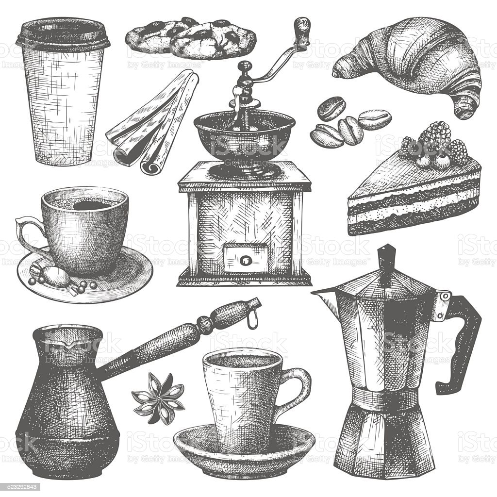 Vintage Coffee Pastry And Spice Illustration Stock ...