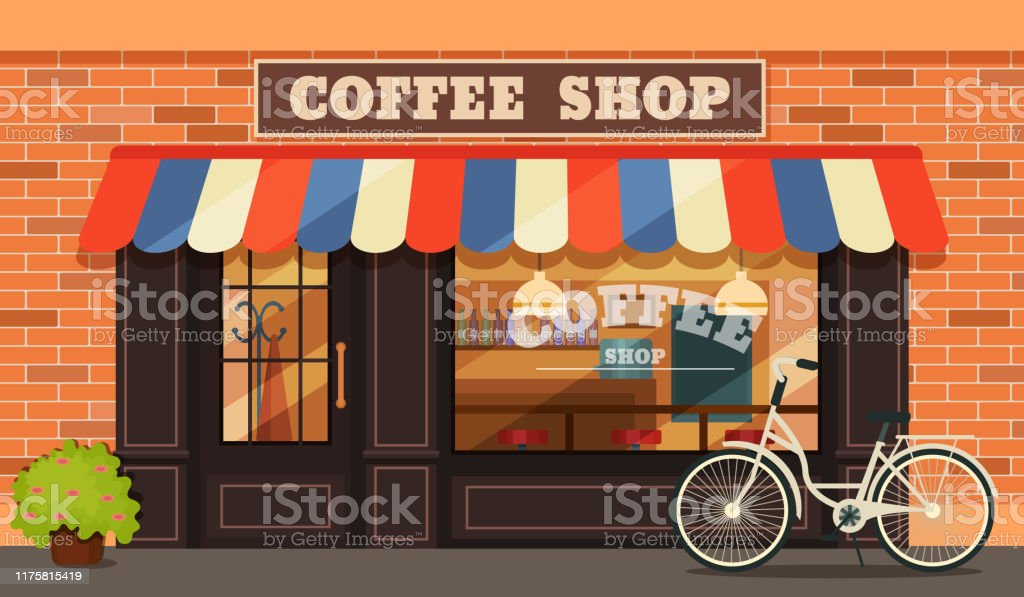 Vintage coffee shop store facade with storefront large window,...