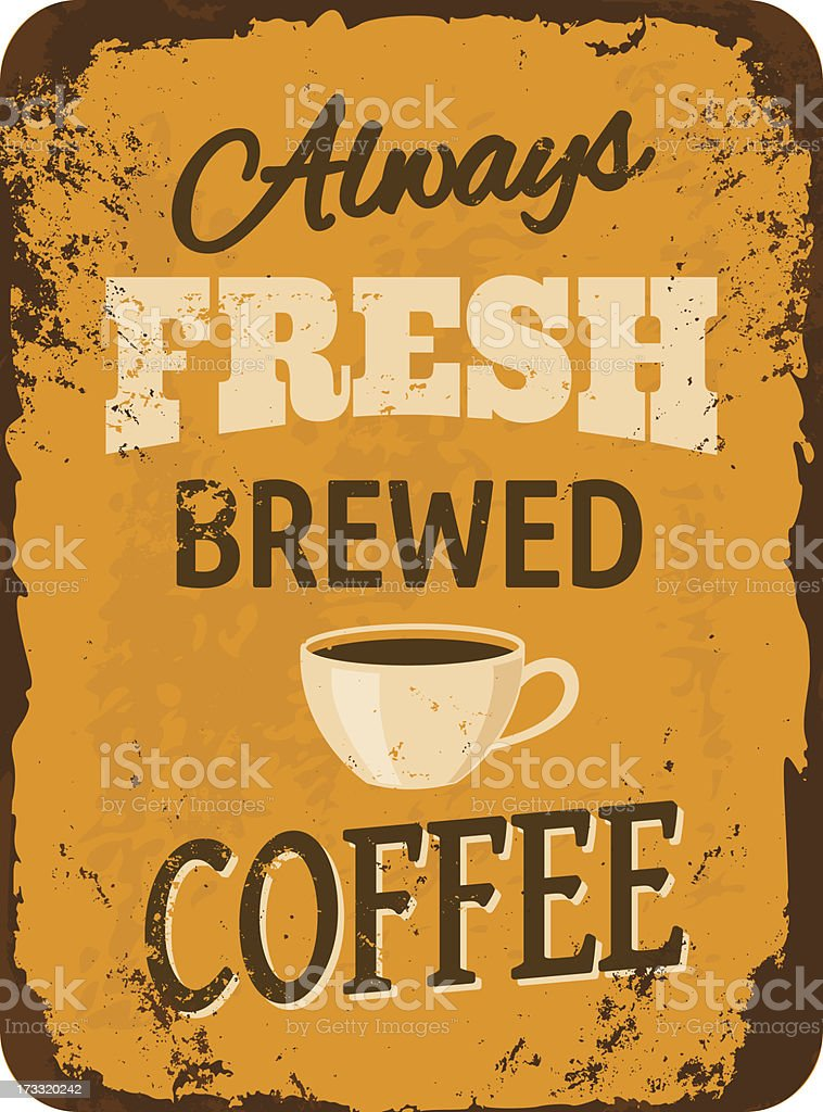 Vintage Coffee Tin Sign vector art illustration