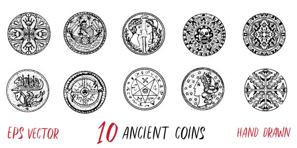 Vintage collection with ten ancient coins Hand drawn doodle engraved illustration with graphic drawings ancient stock illustrations