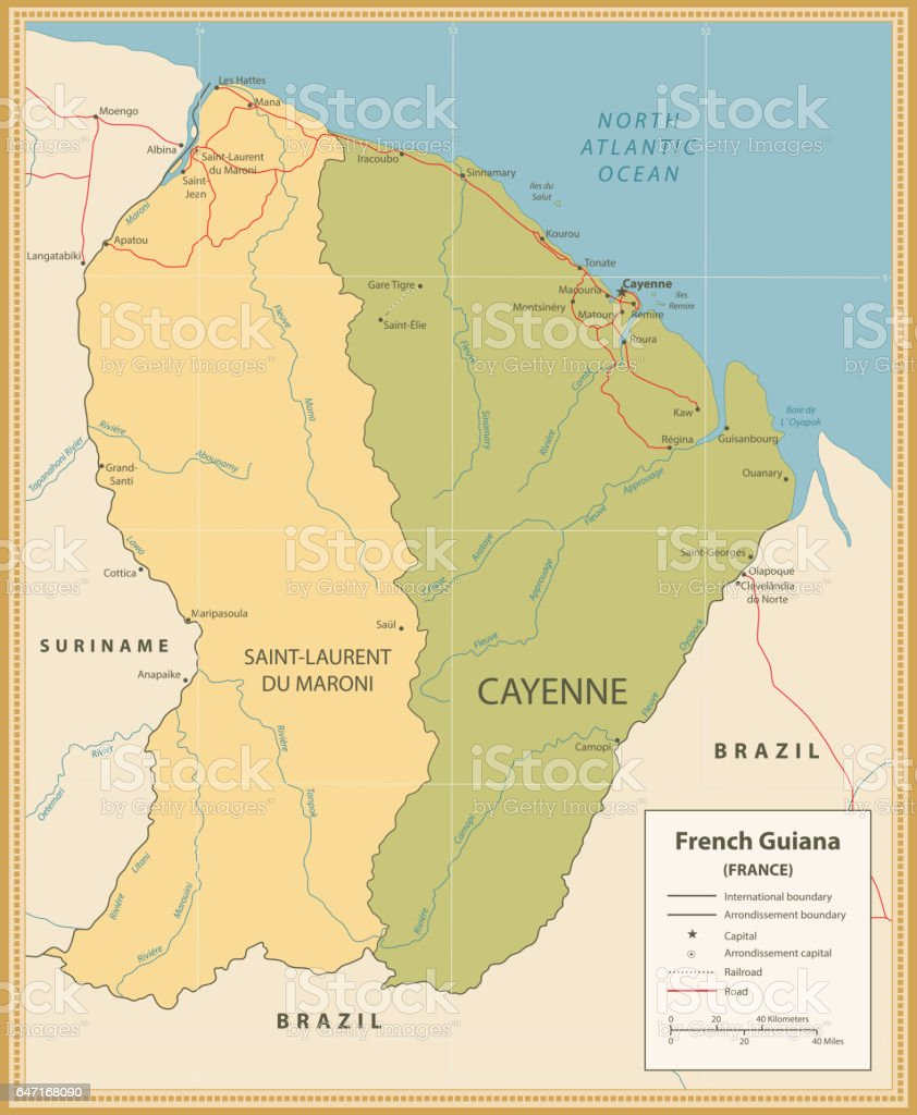 Vintage Color Map Of French Guiana With Roads And Rivers Stock
