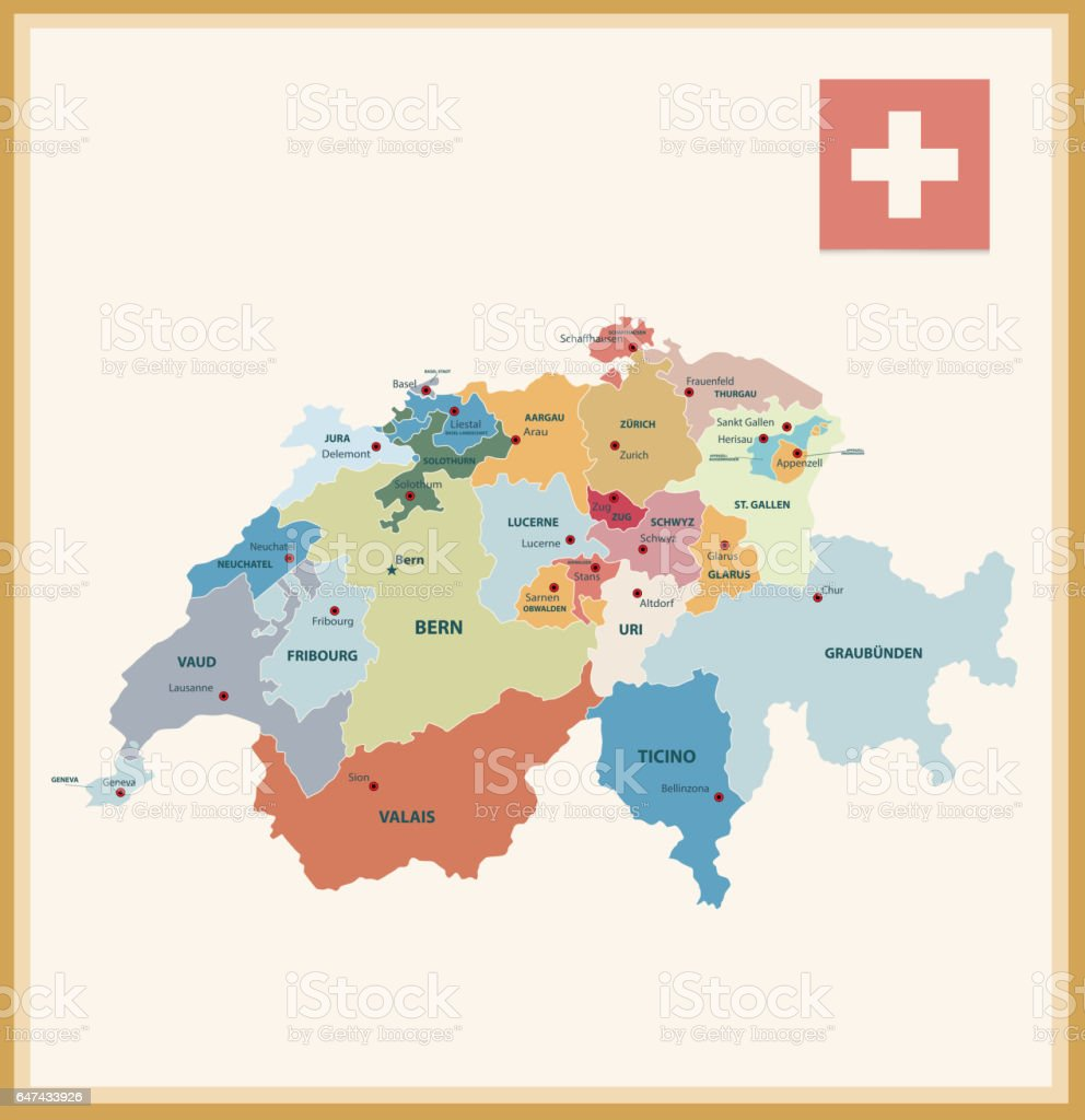Vintage Color Political Map Of Switzerland Stock Vector Art More
