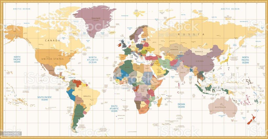 Vintage color political World Map vector art illustration