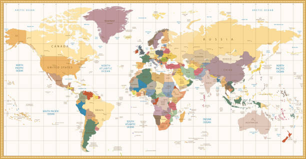 Vintage color political World Map – Vektorgrafik