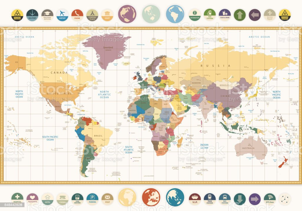 Vintage color political World Map with round flat icons vector art illustration