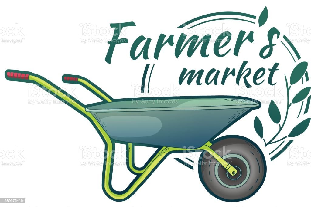 Vintage color retro icon for garden studio. Badge with farm tools. Label with wheelbarrow and herb. Design graphic for Shop garden, farmer's market, organic store. Vector. vector art illustration