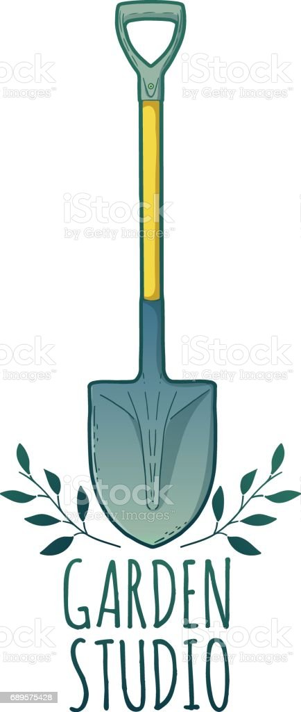 Vintage color retro icon for garden studio. Badge with farm tools. Label with shovel and herb. Design graphic for Shop garden, farm, organic store. Vector. vector art illustration