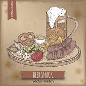 Vintage color template with hand drawn beer mug and snack plate. Great for bar, restaurant, cards and menu, pub signs, t-shirt design.