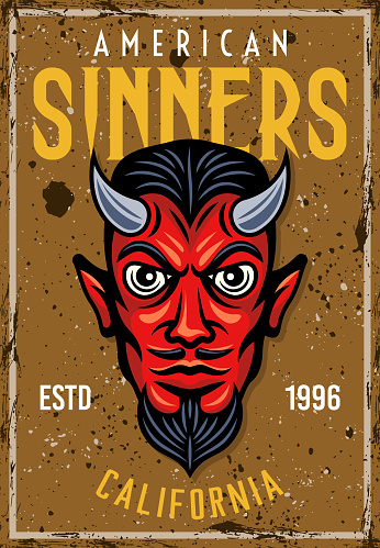 Vintage colored poster with devil head and text american sinners vector decorative illustration for your institution