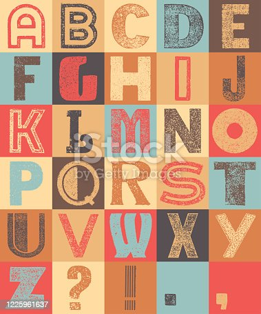 Colorful very wasted sans serif vintage alphabet on a squared grid.