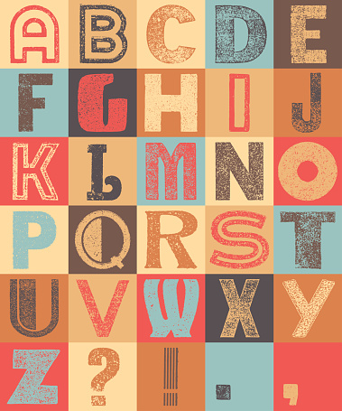 Vintage colorful alphabet on a grid